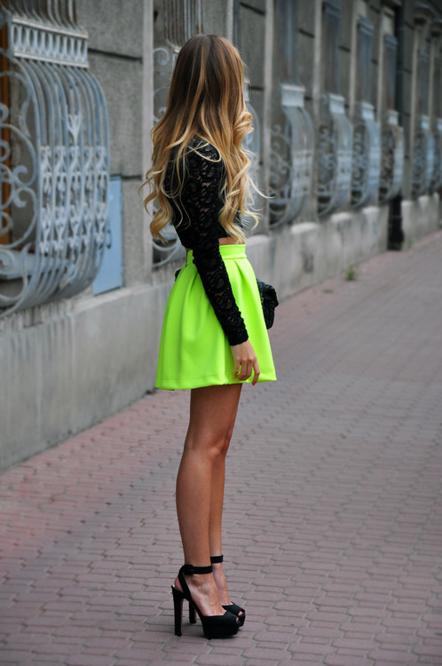 Love the neon colored mini skirt