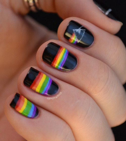 blognailedit:  The Dark Side of the Moon nails  Rainbow nails. Let the sun shine :D