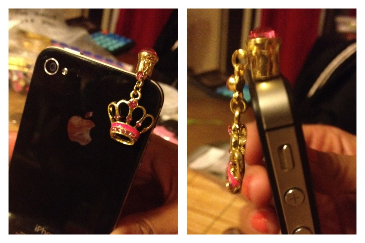 Pink/Gold Crown phone plugs. $7 each