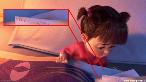 heartdisney:  Boo's real name is Mary, as shown briefly on one of the crayon drawings she shows to Sulley in the scene where Boo is going to sleep on Sulley's bed. The actress who provided the voice of Boo is Mary Gibbs.