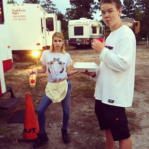 emmaroberts-:   @poulterwill and I discussing my choice of underwear for the day @Robertsemma