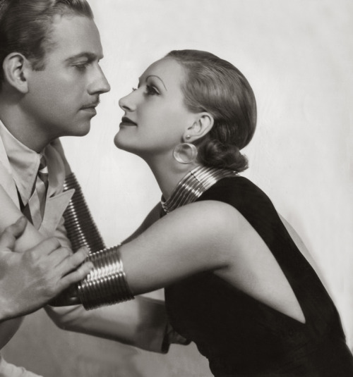 Melvyn Douglas and Tala Birell, 1933, in a publicity shot for Nagana  via mudwerks (by pictosh)