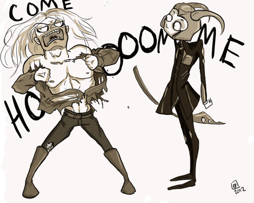 vinsteriousart:  Doodle gone wild.  And suddenly… a wild Thor appears!