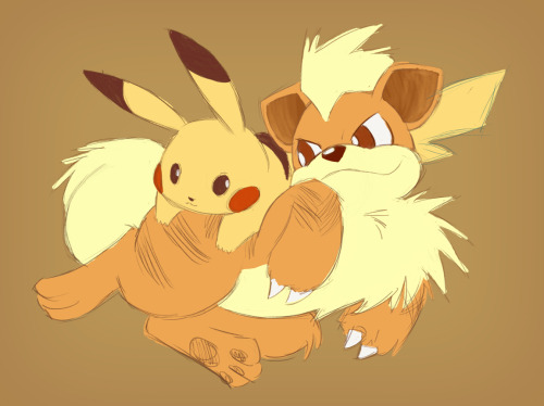 Work in Progress. Digital Art by PandaAGoGo.Pikachu and Growlithe (c) Nintendo