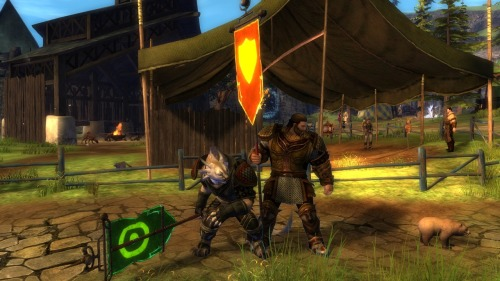 My charr warrior and my husband's norn warrior.  Because WARRIORS.