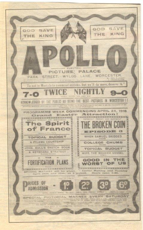 A poster from the Apollo Cinema, Worcester's first specific cinema in 1912.  This poster is little later than that, printed in 1916.