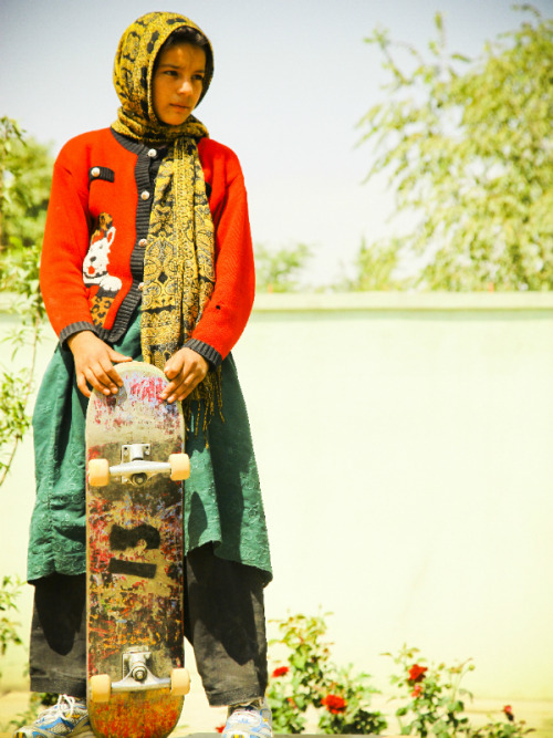 Fazila Shirindil is a former student of Skateistan, a nonprofit organization that employs Afghan youth from the street, teaches them a new sport, and provides a place for boys and girls to play together. She has since become a skateboard instructor, and is seen here playing on a mini-ramp outside a guest house in Kabul in 2010, at the age of 12.