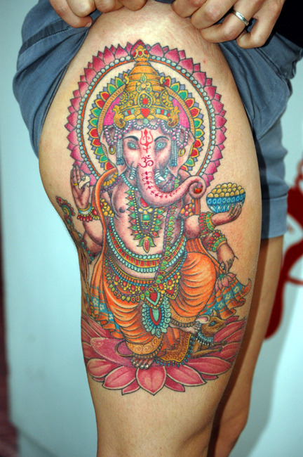 Ganesha: The Hindu God of overcoming obstacles, moving earthly objects, new beginnings and food. I also have this tattoo.