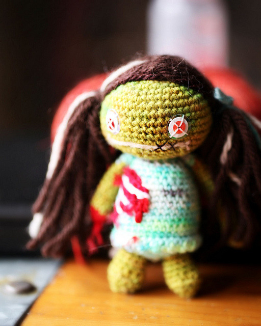 Little Zombie Girl Isn't she such a cute little amigurumi?  I found her via Knitsoup, which has now moved to Milky Robot.  It's a totally awesome blog that you should check out when you have a sec.