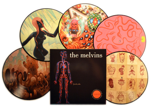 melvinmania:  All five designs of the forthcoming Freak Puke picture disc.