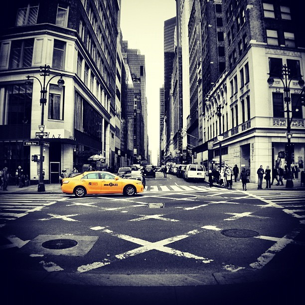New York City. #NYC #NY #newyork #newyorkcity #taxi #colorsplash #coloursplash #yellow #orange #xproii #photooftheday #usa #statigram #iphonesia #iphoneonly #iphoneography  (Taken with Instagram at Pret A Manger)