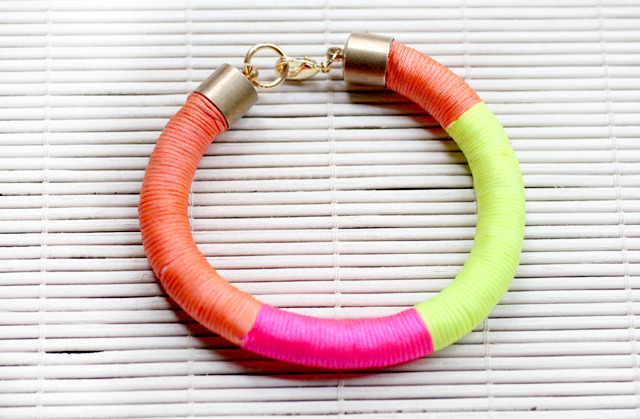Neon Wrap Bracelet | I Spy DIY Well it looks like neon is here to stay - it stayed through Winter and will be a mainstay for Summer! Here is a perfect way to add a bit of neon punch to your outfit if you're not keen on wearing it on your clothes with a easy wrap bracelet. Do a few and stack them up!