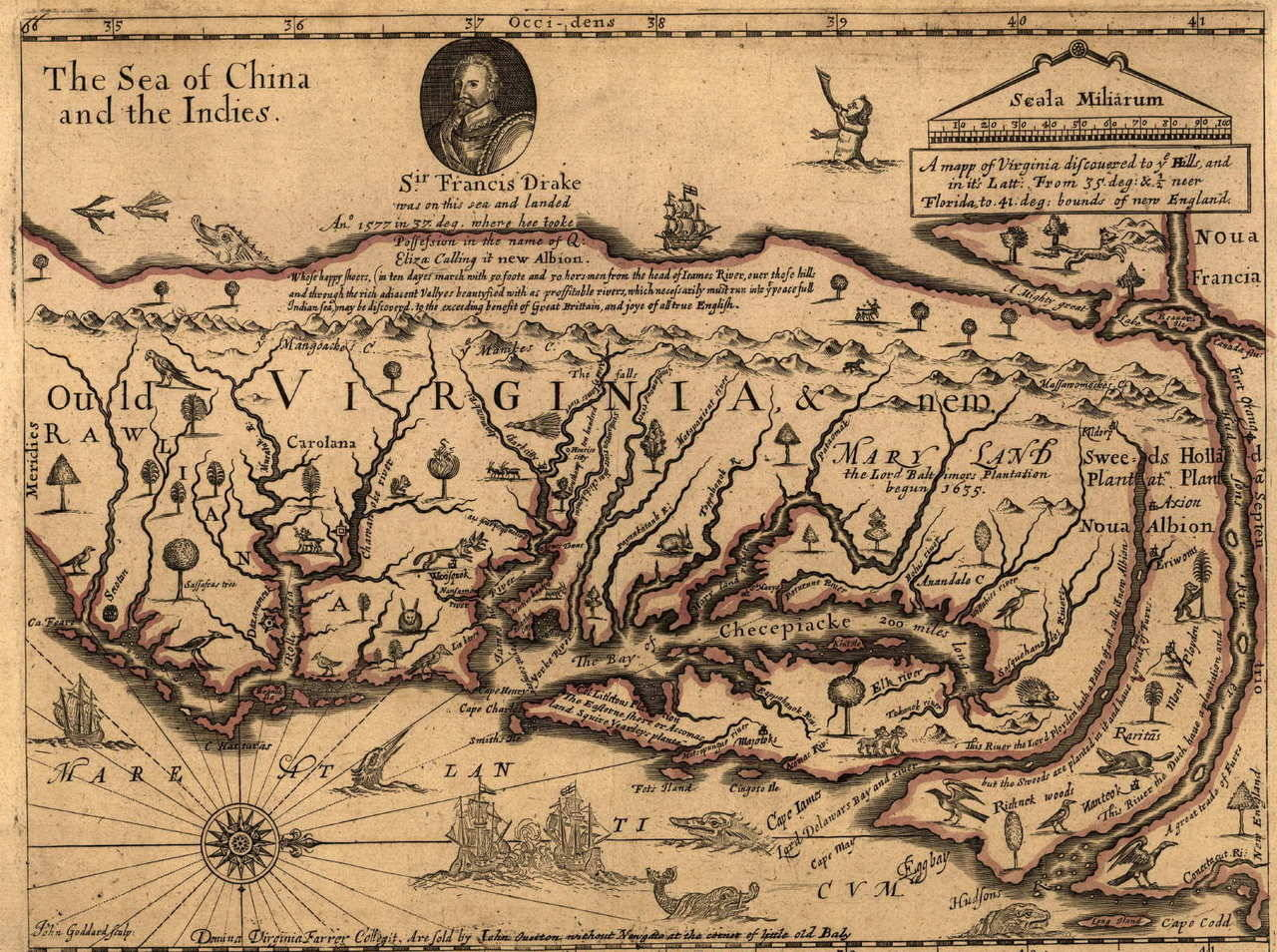 Map of Virginia, 1651.