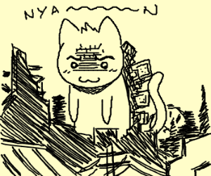 "You better run when you see ""Nyan cat-zilla"" comin to your town"