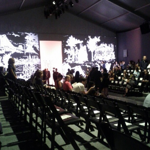 In my seat waiting for Ruffian you begin. #MBFW #NYFW  (Taken with Instagram at Mercedes Benz New York Fashion Week)