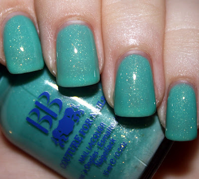 "BB Couture ""Man Bug"" — a delicate turquoise jelly, sprinkled with tiny flecks of silver (via The Scholarly Nail: BB Couture Man Bug - Last Hurrah of Summer Week)"