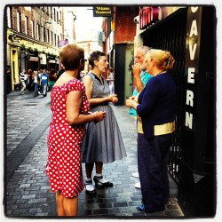 markmcnulty:  Old rockabilly girls on Mathew Street #liverpool #thebeatles (Taken with Instagram at Cavern Pub)