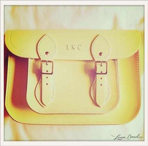 the lovely lauren conrad's monogrammed satchel. perfect for fashion week!