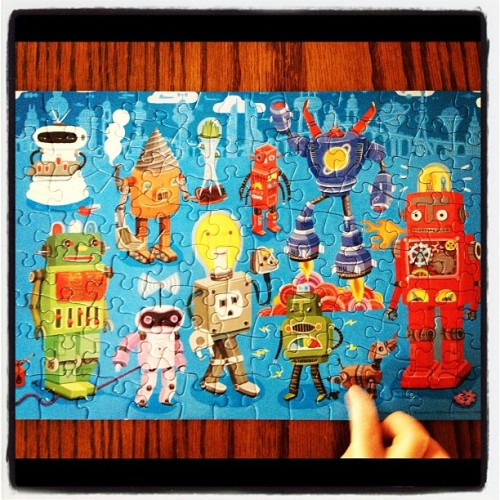 Robot Parade. Miles likes the robot doggy. (Taken with Instagram at Froth House)