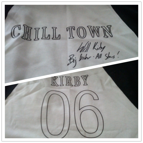 mattdonders:  Autographed Chill Town baseball shirt by Dr. Will Kirby - this is amazing.