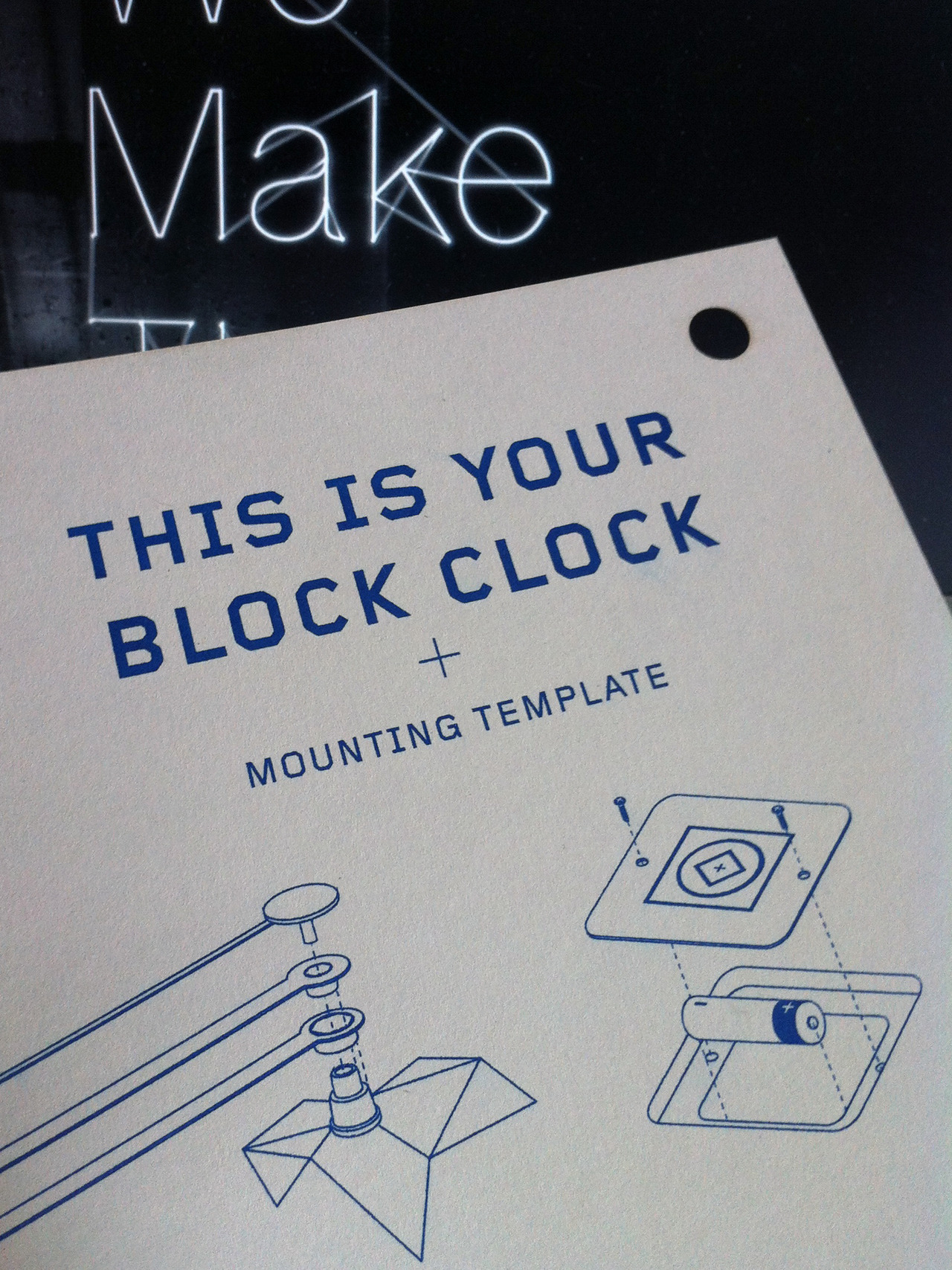 Our freshly updated mounting template and instructions for our Block Clocks. Printed on Steam Whistle Press's new Risograph and laser cut in house by us - via followsuchandsuch