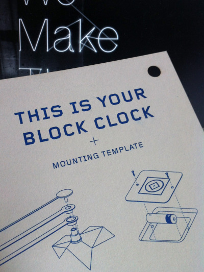 Our freshly updated mounting template and instructions for our Block Clocks. Printed on Steam Whistle Press's new Risograph and laser cut in house by us.