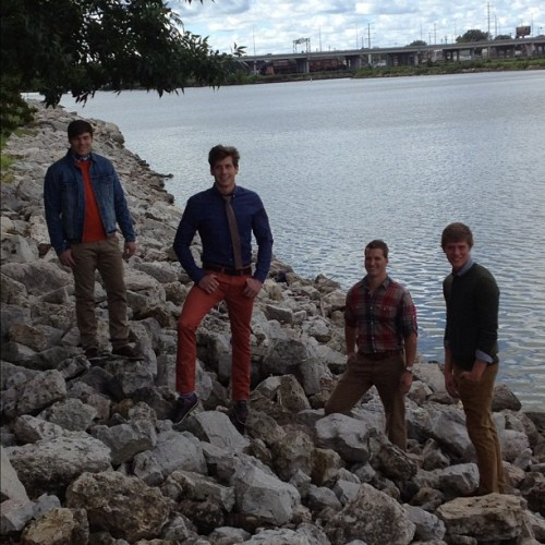 Fox river with the guys (Taken with Instagram) for our fall style guide photo shoot.