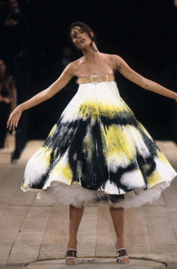 "alexander mcqueen s/s 1999 rtw, in shalom harlow's own words: ""It almost became this like aggressive sexual experience in some way. And I think that this moment really encapsulates, in a way, how Alexander related to—at least at this particular moment—related to creation. Is that all of creation? Is that the act of a human being being created, the sexual act? Is it the act of, you know, the Big Bang, if you will, that violence and that chaos and that surrender that takes place?"" - shalom harlow"