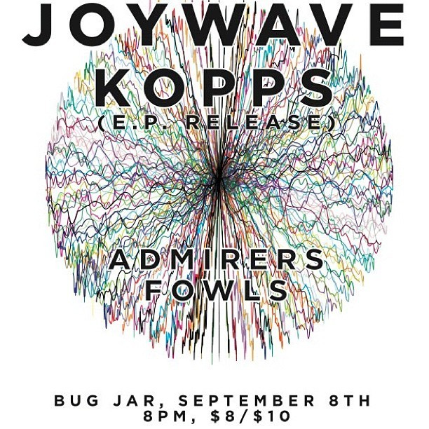 Tonight. Joywave and @kopps_ at Bug Jar. See you there.  (Taken with Instagram)