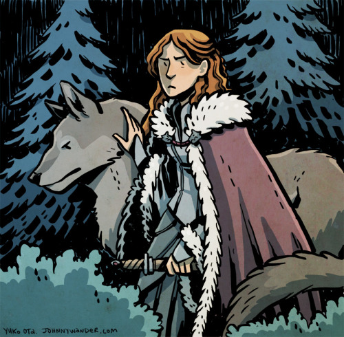 Alternate Future Sansa and Lady.  ASoIaF fanart.  Brush pen, photoshop color. Wanted to color something this morning and dug out this Sansa drawing I did months ago for a friend.  I think I'd just read through something Chris Samnee had drawn because I hardly ever willingly use such heavy inks!  Gotta try to channel that again in the future.