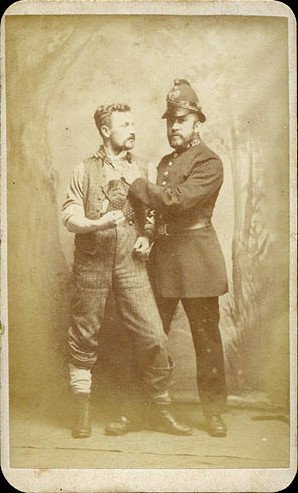 "ca. 1880's, [carte de visite portrait of a British police officer arresting a ""street tough""], Isaac Preston via Christopher Wahren Fine Photographs, Skylight Gallery #34"
