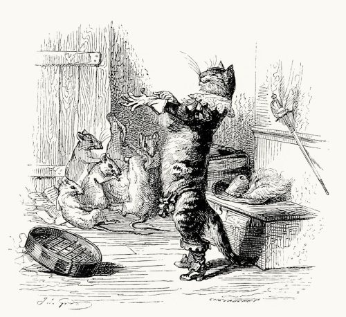 oldbookillustrations:  Chat ganté n'a jamais pris de souris (A cat in gloves catches no mice). Jean-Jacques Grandville, from Cent proverbes (one hundred proverbs), collective work, Paris, 1845. (Source: archive.org)