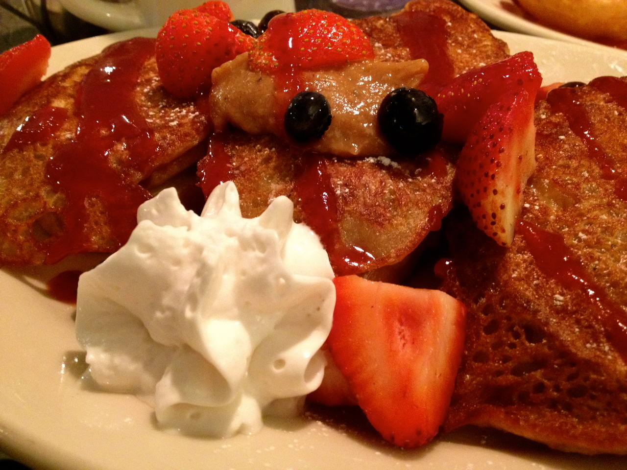 French toast stuffed with vanilla nut cream cheese from Veggie Galaxy in Cambridge, MA!