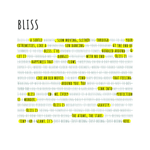 "hitrecord:  ""BLISS visual poetry REmix"" REmix by aszarkowski Text REsource by tori Visual REsource by themetafictionist == jared (Producer) writes: I love this. And, I love the way you've laid this out graphically. Well done! I wonder if there's a way to make some sort of audio/visual representation of this? == alyssaszarkowski:  a BLISSful creation: inspired from the RECords of themetafictionist and tori on hitRECord"