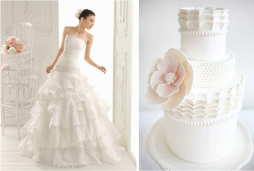 Talk about a couture cake! Ask your baker to take inspiration from your wedding dress