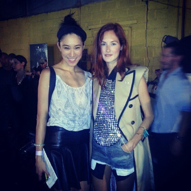 evachen212:  me and my friend Taylor Tomasi Hill of Moda Operandi backstage at Prabal Gurung how chic is she? I love her sparkle…
