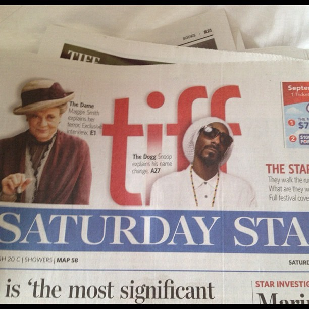 Morning paper. #tiff12 #reincarnated  (Taken with Instagram)
