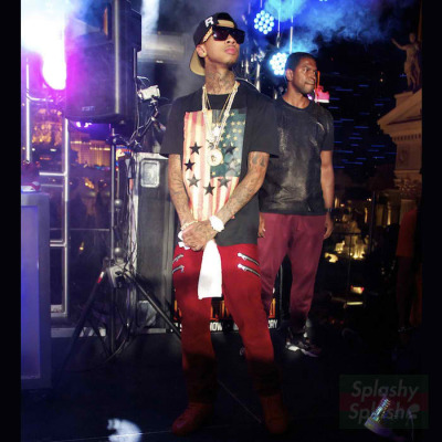 Tyga wearing Givenchy US Flag and Stars Shirt