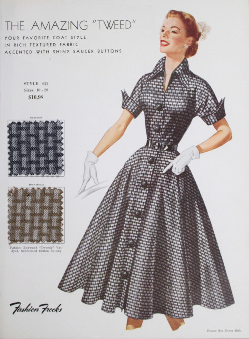 ~ Fashion Frocks: Style Cards, c. 1950-59via Hagley Digital Archives(click to enlarge)