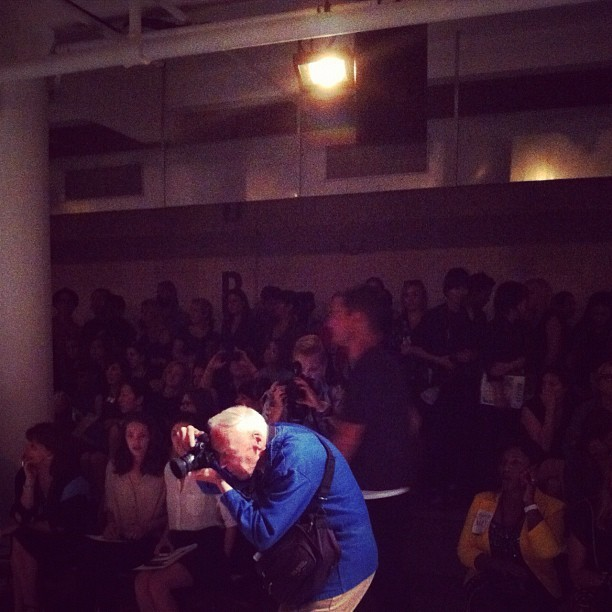 acehotel:  Bill Cunningham shines on at the SUNO show at Milk Studios in New York last night.  really the main thing I care about at NYFW is seeing this man.  assisting tomorrow at Milk Studios, so fingers crossed.