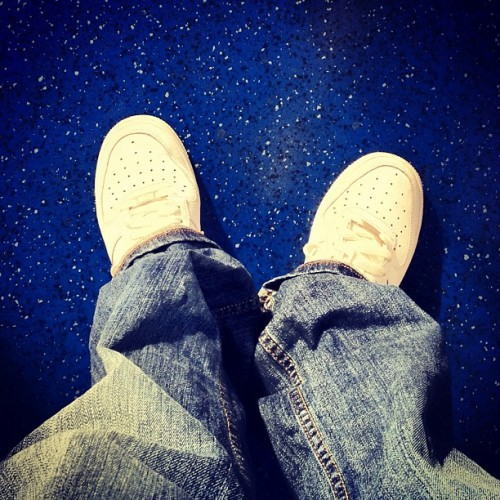Sneakers Today • White Nike Air Force One • with vintage tan blue 506 Levi's • floor courtesy of the DLR train • #st #sneakerstoday #nike #airforceone #nikeair #white #antique #blue #levis #jeans #506 #tanblue #blue #dlr #train #floor #londontransport #eastlondon #london #england #greatbritain #unitedkingdom #september #afternoon #2012 #xproII #lux  (Taken with Instagram at South Quay DLR Station)