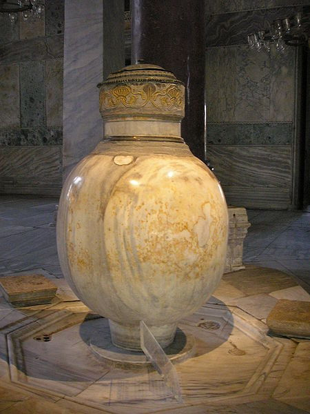 collective-history:  The Marble Jar was brought from Pergamon during the reign of Murad III. Originally from the Hellenistic period, it was carved from a single block of marble. It is located in Hagia Sophia.