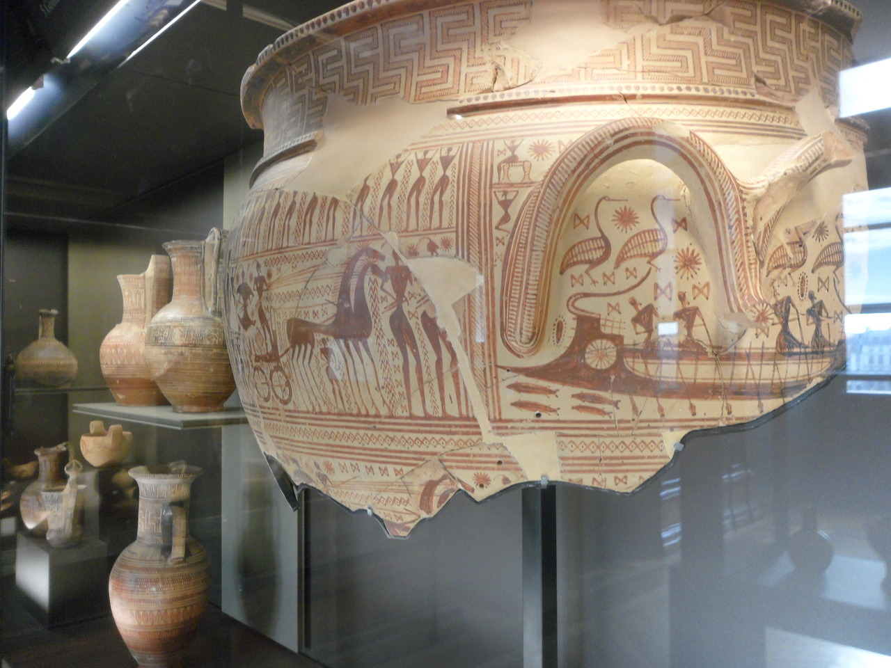 Fragmentary krater Late Geometric period (LG I), c. 750 BC Dipylon cemetery, Athens (Greece) Currently located at the Louvre, Paris. more information : http://www.louvre.fr/en/oeuvre-notices/fragmentary-krater Submitted by: eux-them