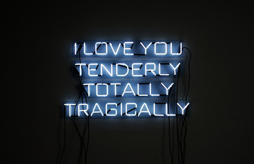Tenderly ! Norma Markley's recent work—neon, silkscreen prints, and sewn drawings—inspired by the rhythm and language from literary sources and images from a film to explore the notions of sex, on the one hand, and the concept of answering questions with a yes or no, on the other hand.