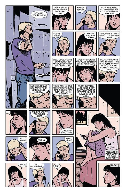 Young Avengers are too young to be messing around with adult Avengers, right?So, how old is Kate Bishop anyway? Because Fraction has Clint going out of his way here to say he doesn't want to sleep with her… and it's like Kate said, kind of creepy?Also: Is Elijah Bradley gonna have to choke an Avenger?
