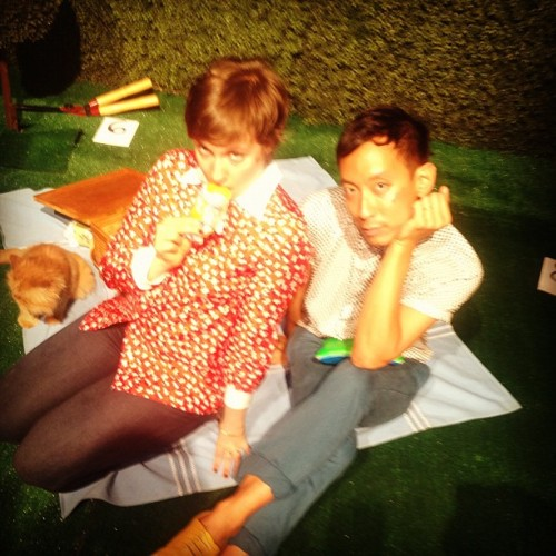 Girl. Boy. Cat. @rachelantonoff's Spring 2013 picnic. (Taken with Instagram)