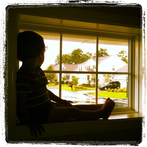 A rainy day window seat (Taken with Instagram).  There is something special about getting to watch life through the eyes of a 2 year old.  Everything has a certain awe that makes you stop.  Rain becomes magical. He wants to slow down to take it all in, and when his eyes light up you can see the expressions of awe, wonder, and you have to stop and reflect on why I am too busy to do take it all in…. I am pretty certain that he sees the fingerprints and majesty of God that I am too busy to witness.  I wonder… if … he wonders why I would miss out on that.  I have so much to learn.
