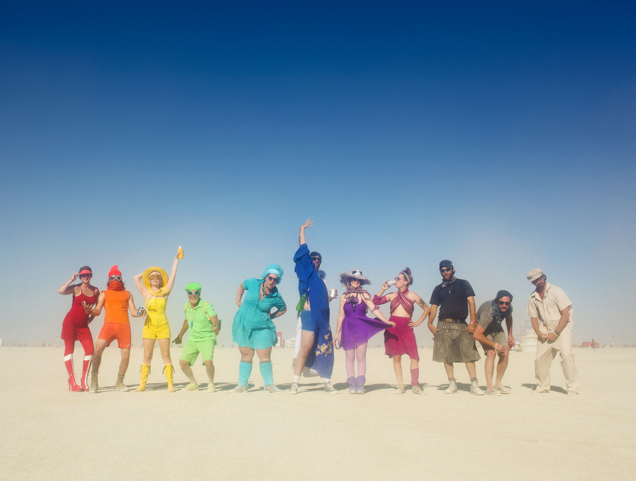 R Camp is better than Your Camp! Planning things at Burning Man is hard, but when I asked my campmates this year to pick a color so we could run around all day shooting rainbow photos - all expectations were exceeded, and together we had one of my favorite days in Black Rock City yet.  ROYGBIV, CMYK, and Greyscale. These are my best friends, and this is how we play.  ©Lauren Randolph