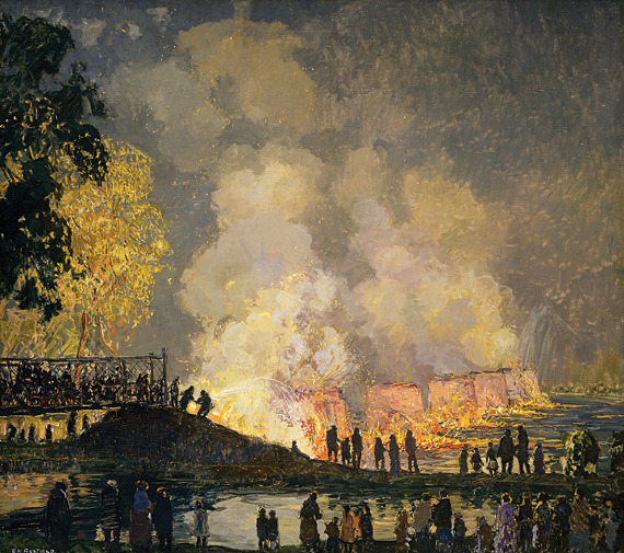 poboh:  The Burning of Center Bridge, 1923, Edward Willis Redfield. American Impressionist Painter (1869 - 1965)
