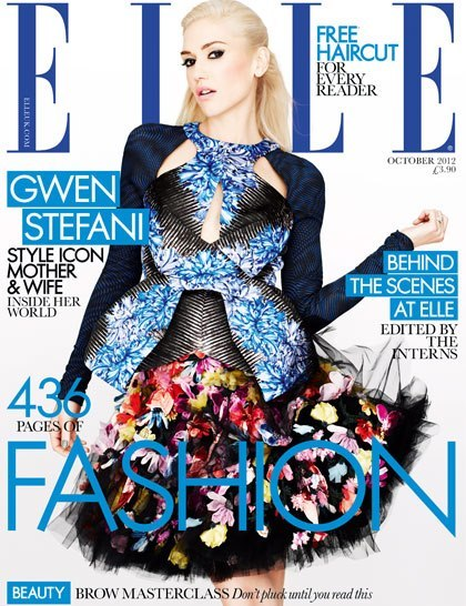 Gwen Stefani in McQ dress ad Peter Pilotto top (via Gwen Stefani Covers for ELLE UK October 2012)